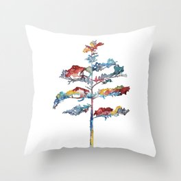 Pine tree #1 - multicoloured ink painting Throw Pillow