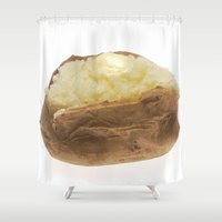 potato Shower Curtains featuring Baked Potato by BravuraMedia