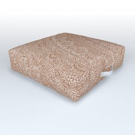 The Most Detailed Intricate Mandala (Brown Tan) Maze Zentangle Hand Drawn Popular Trending Outdoor Floor Cushion