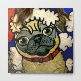 Pug Sweater Metal Print