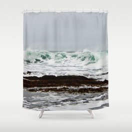 Green Wave Breaking Shower Curtain