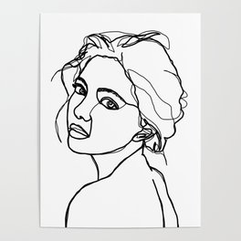Woman's face line drawing - Adena Poster