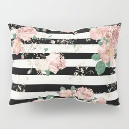 VINTAGE FLORAL ROSES BLACK AND WHITE STRIPES Pillow Sham
