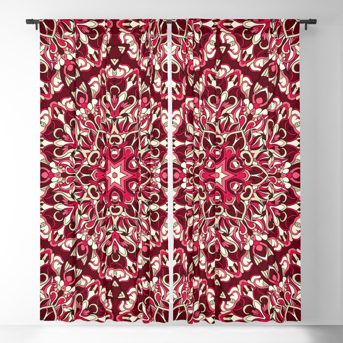 Red geometric Mandala Rich Ornament Blackout Curtain