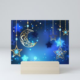 Gold Crescent on Blue Background Mini Art Print