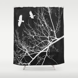 Crows Flying Over Trees Negative Silhouette Shower Curtain