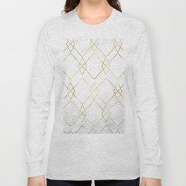 Gold Geometric Marble Pattern Long Sleeve T-shirt