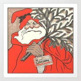 Christmas Pudding And Vintage Santa Vector Art Print