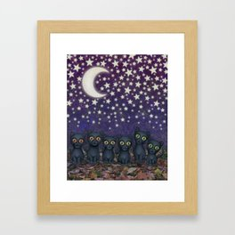 black cats, stars, & moon Framed Art Print