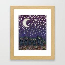 black cats, stars, & moon Framed Art Print