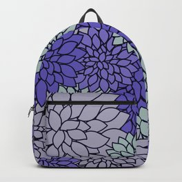 Ultra Violet Periwinkle Gray Dahlias Backpack