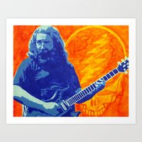 grateful dead Art Prints featuring Jerry Garcia - The Grateful Dead by Tipsy Monkey