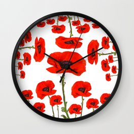 DECORATIVE MODERN RED-ORANGE POPPIES GARDEN DESIGN Wall Clock