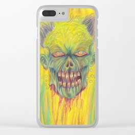 Floating Zombie Head Art Clear iPhone Case