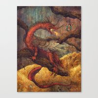 smaug Canvas Prints featuring Dragons Lair by Angela Rizza