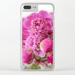 Pink Peonies Romantic Floral Bouquet Clear iPhone Case
