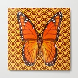 ABSTRACTED GOLD ORANGE MONARCH BUTTERFLY Metal Print