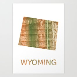 Wyoming map outline Brown green blurred watercolor texture Art Print