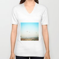 hot air balloon V-neck T-shirts featuring hot air balloon by valerie
