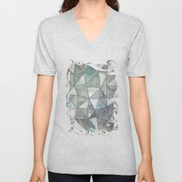 Teal And Grey Triangles Stained Glass Style Unisex V-Neck