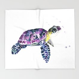 Sea Turtle, purple baby turtle illustration design Throw Blanket