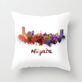 Niigata skyline in watercolor Throw Pillow