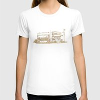 buildings T-shirts featuring Two Buildings by Qin Leng