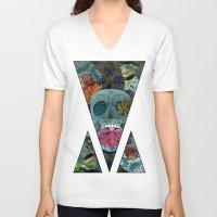 sugar skulls V-neck T-shirts featuring Sugar Skulls Art by Spooky Dooky