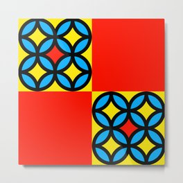 Colored Circles Red Squares Metal Print