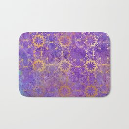 Pop Painted Pattern:  Purple and gold watercolor abstract ornament Bath Mat