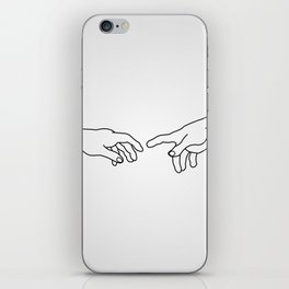 Hands showing the creation of Adam iPhone Skin