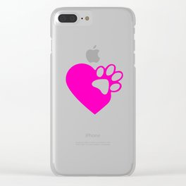 Cute Heart Paw Print product Funny Love Gift For Cat Owners Clear iPhone Case