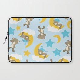 Pattern Of Cute Bears, Brown Bears, Blue Stars Laptop Sleeve