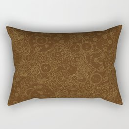 Clockwork Retro / Cogs and clockwork parts lineart pattern in brown and gold Rectangular Pillow