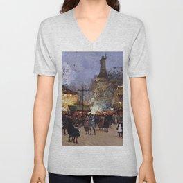 Place de la Republique, Paris, France by Eugene Galien Laloue Unisex V-Neck
