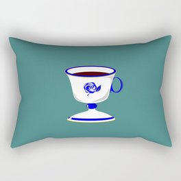 Cup of Coffee in Blue Flow Vintage China Rectangular Pillow
