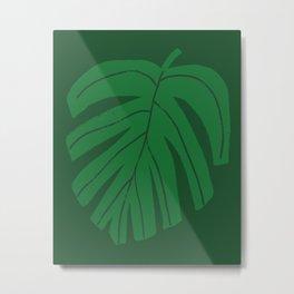 Green Monstera Leaf Metal Print