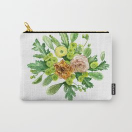 Green and yellow floral bouquet in watercolour Carry-All Pouch