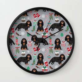 Cavalier King Charles Spaniel black and tan christmas dog gifts pet friendly Wall Clock