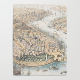 Vintage Pictorial Map of New York City (1852) Poster