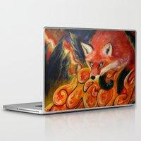 kitsune Laptop & iPad Skins featuring Kitsune by Kendra Alexzine