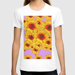 Lilac Purple & Red Center Sunflowers Pattern T-shirt