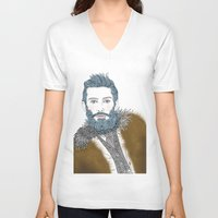 beard V-neck T-shirts featuring beard by katiwo