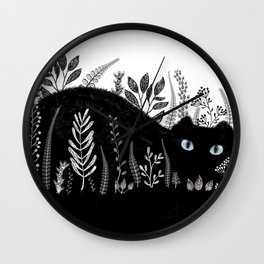Garden Cat Black And White Wall Clock
