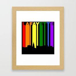 Lafayette Indiana Gay Pride Rainbow Skyline Framed Art Print