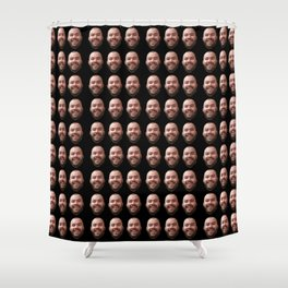 Faces in Black Shower Curtain