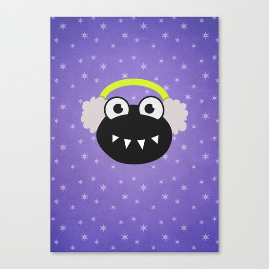 Purple Cute Cartoon Bug With Earflaps In Winter Canvas Print
