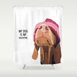 Vizsla Valentine Shower Curtain