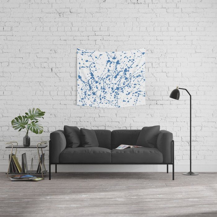 Splat Blue on White Wall Tapestry