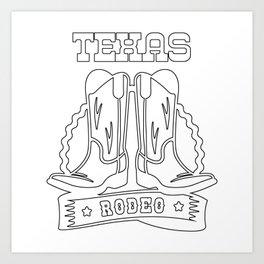 Texas Rodeo Horse Bull Art Print